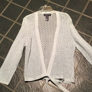 Jones New York crochet cotton cardigan sweater L